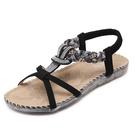 新款民族風涼鞋 波西米亞水鑽平底鞋沙灘鞋...