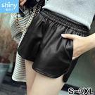 【V2262】shiny藍格子-時尚百搭.高腰顯瘦闊腿褲