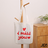 【JIDA】簡約文青肩背水洗帆布包字母-I MISS YOU