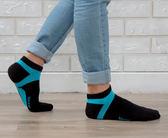 (男襪) 抗菌襪 除臭襪 吸濕排汗除臭襪 抗菌機能氣墊短襪 - 黑配藍色【W090-02】Nacaco