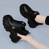 厚底內增高女鞋7cm小個子2021新款春秋黑色百搭松糕底休閑老爹鞋快速出貨