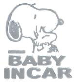 車之嚴選 cars_go 汽車用品【SN63】日本 SNOOPY 史努比 黏貼式車身貼飾 BABY IN CAR 裝飾貼