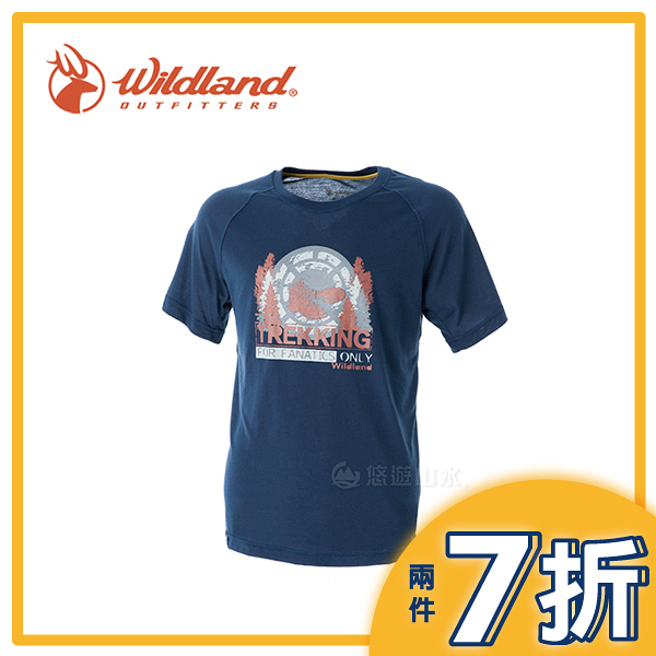 【Wildland 荒野 男款 圓領印花棉感抗UV上衣《深藍》】0A51610/春夏款/棉T/短袖/短T/T恤