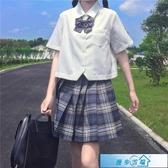 JK制服基礎款jk制服白襯衫女夏季白色襯衣日系長袖短袖寬鬆短款上衣春秋 漫步雲端