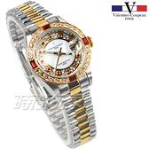 valentino coupeau 范倫鐵諾 滿天星鑽 不鏽鋼 防水手錶 女錶 金色 鑲鑽 經典 放大日期 V1217T半金小