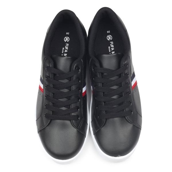 【富發牌】素面紅藍白織帶休閒鞋-黑/白 2CV10
