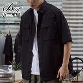 短袖襯衫 日系工裝大口袋五分袖襯衫【NW630002】
