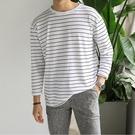 FINDSENSE 時尚潮流 男 日系 寬鬆 百搭全棉 條紋休閒 長袖T恤 圓領