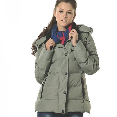 MILD STAR 女版休閒羽絨外套-灰綠#JW605627