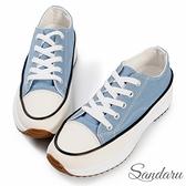 厚底鞋 簡約經典增高鬆糕底帆布鞋-藍