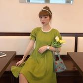 短袖洋裝 夏日晚餐-復活抹茶綠法式花邊連身裙女夏季新款中長款方領a字裙 薇薇