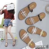 平底拖鞋 韓版簡約百搭平底涼鞋女夏學生塑料透明露趾兩穿沙灘涼拖