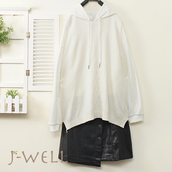J-WELL 素面純棉帽T毛衣背心皮裙三件組(組合A787  9J1119白+9J1129白+9J1177黑)