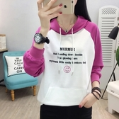 中大尺碼~長袖T恤~8928#韓版連帽女裝T恤衛衣修身長袖女學生上衣H361莎菲娜