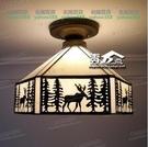 蒂凡尼玻璃美式鄉村麋鹿吸頂燈 MY~燈飾604