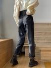 直筒褲 寬松闊腿高腰牛仔褲女秋冬年新款直筒顯瘦哈倫老爹褲黑色褲子 交換禮物