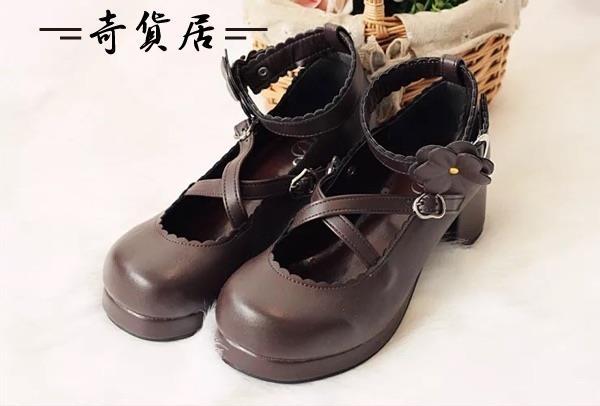 加軟日系森女lolita洛麗塔高跟鞋圓頭粗跟可拆花朵公主女鞋單鞋子