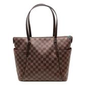 【台中米蘭站】全新品 Louis Vuitton 經典棋盤格Totally MM 肩背購物包(N41281-咖)
