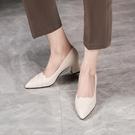 手工真皮女鞋34~41 2021新款小牛皮編織尖頭中跟鞋 OL工作鞋~2色