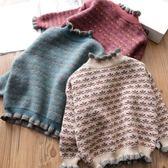 毛衣 女童木耳邊針織衫秋冬新款寶寶加厚復古毛衣兒童打底衫韓版童裝潮【小天使】