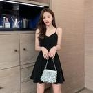 抹胸洋裝 小黑裙連身裙女夏短款赫本小個子冷淡風顯瘦抹胸式吊帶裙性感外穿-Ballet朵朵