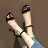 黑色露趾一字帶扣細跟涼鞋女仙女風夏網紅細帶百搭高跟鞋 安妮塔小舖