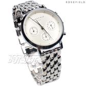 ROSEFIELD 歐風美學 三眼多功能計時碼錶 時尚 不鏽鋼 女錶 防水手錶 NWS-N92