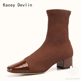 毛線針織中跟短靴 時尚舒適方頭彈力中筒襪靴 女靴子【Kacey Devlin 】