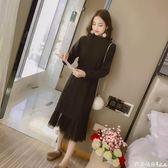 蕾絲洋裝 2017秋冬新款韓版中長款網紗拼接蕾絲荷葉邊長袖連身裙內搭打底裙 芭蕾朵朵