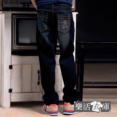 MIT騎士刺繡刷色伸縮中直筒牛仔褲(黑色)● 樂活衣庫【P672-2】