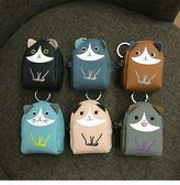 迷你小書包零錢包女學生韓國小方包硬幣可愛貓咪小清新鑰匙扣手拿 ☸mousika