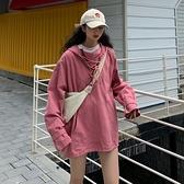 網紅衣服秋季2021新款韓版寬鬆春秋連帽套頭長袖上衣衛衣女潮ins 米娜小鋪