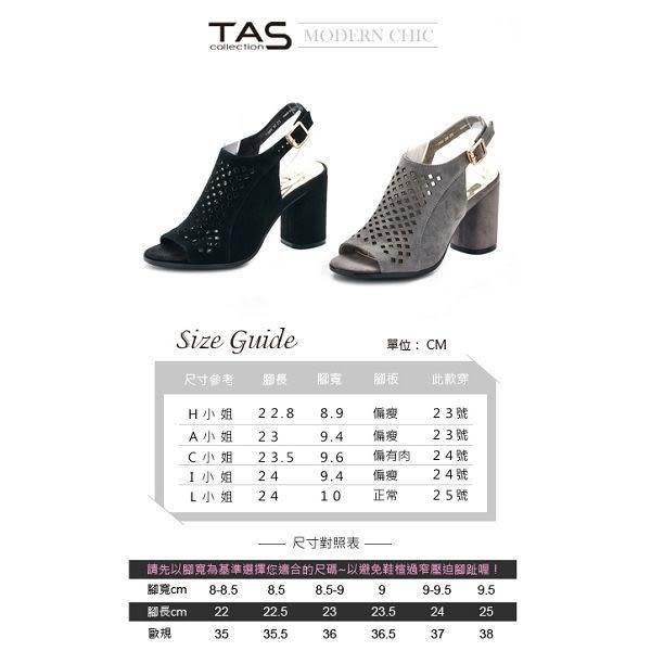 ★↘45 折 ★TAS 菱格紋沖孔魚口麂皮粗跟涼鞋-俐落灰