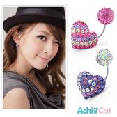 鋼耳環 AchiCat 白鋼 繽紛小愛心 耳針式 抗過敏 單邊單個