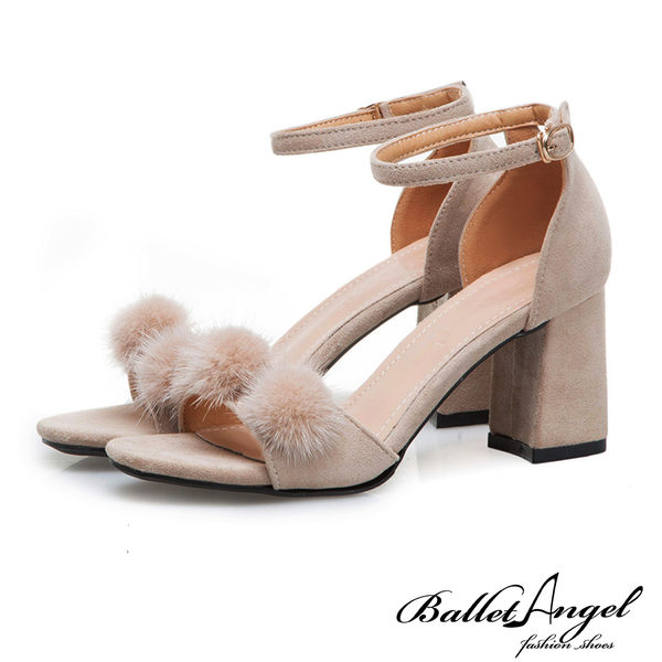 涼鞋 一字繫踝毛球球粗跟涼鞋(米)*BalletAngel【18-718mi】【現貨】