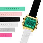 I AM / IAM-006 / 電子液晶 青春風格 繽紛色彩 自由搭配 矽膠手錶 藍綠x金x黑 33mm