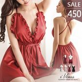 睡衣-奧麗雅朵-iVenus 歐美法式性感緞面綁帶交叉美背大尺碼居家服睡裙 玩美維納斯 平價內睡衣