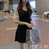 洋裝 夏裝赫本小黑裙chic氣質甜美V領修身黑白拼接洋裝中長款打底裙 至簡元素
