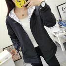 日系森女系連帽純色印花兩面穿外套(7色M~XL)*ORead*