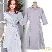 洋裝直紋修身襯衫V領綁帶和服洋裝LIYO理優E736005