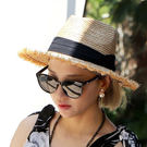 爵士帽 毛邊拉菲草帽 黑色絲帶緞帶蝴蝶結 立體大帽沿刷鬚 紳士帽漁夫帽 編織草編藤編 韓國 NXS