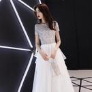 【限時下殺79折】中大尺碼長禮服 白色晚禮服裙女名媛聚會生日派對主持人dj