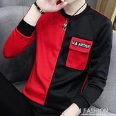 2018秋季新款長袖T恤男士韓版社會青少年薄款打底衫潮男上衣服裝-Ifashion