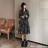 2020流行裙子女秋冬新款韓版法式復古百搭學生顯瘦V領碎花洋裝 俏girl