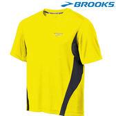 【BROOKS】男夜光運動短袖圓領T恤 - 夜光黃