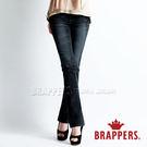 BRAPPERS 女款 新美腳 Royal 系列-彈性黑灰蝴蝶鑲鑽小喇叭褲-黑灰