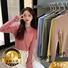 【Stay】韓版簡約寬鬆素色高領長袖上衣 長袖t恤 大學T 女裝 衣服 寬鬆上衣【W103】