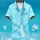 降價兩天 新款短袖襯衫男士韓版 修身青少...