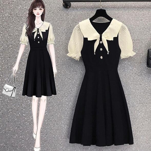 洋裝 連身裙 中大尺碼L-4XL新款大碼假兩件雪紡拼接顯瘦小黑裙4F093-18139.胖胖唯依
