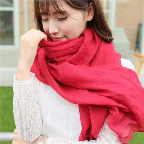 Qmigirl 秋冬款純色棉質圍巾絲巾【QG1822】